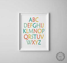 Alphabet Wall Art, Abc Alphabet, Art Market, Wall Art Prints, Nursery, Unique Jewelry, Counting, Handmade Gifts, Poster