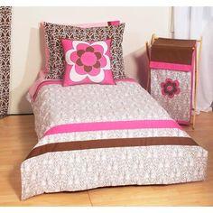 Bacati Damask 4pc Toddler Bedding Set, Pink/Chocolate
