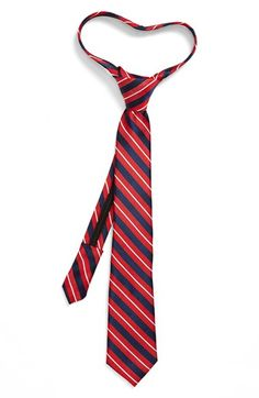 Boy's Nordstrom 'Washington Stripe' Silk Zipper Tie - Red