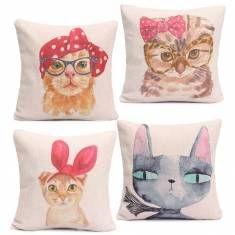 Cute Hair Salon Rabbit Cat Animal Throw Pillow Cases Home Sofa Office Cushion Cover
