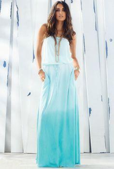 Elan International Strapless Smock Hip Maxi Dress in Mint Ombre