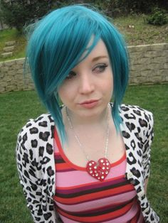 This is such a sweet style and the turquoise color suits her hair and face.
