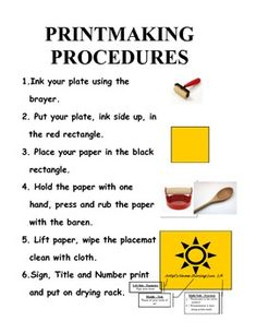 Printmaking Process Placemat Directions $1@ TpT