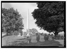 FRONT ELEVATION OF MEMORIAL TO SOLDIERS WHO DIED FOR THIS COUNTRY (OBELISK), SECTION 43A, WITH HEADSTONES IN FOREGROUND. VIEW TO NORTHEAST. - Leavenworth National Cemetery, 150 Muncie Road, Leavenworth, Leavenworth County, KS