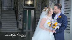 Vintage inspired wedding at The Venue in The Royal Liver Building, Liverpool. Yellow Sunflower and purple bridal bouquet