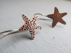 Starfish earrings - hand cut in copper with hand forged sterling silver ear wires by JoDeneMoneuseJewelry, $32.00
