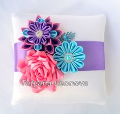 Ring Pillows coral turquoise and purple by LIKKO on Etsy