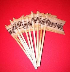 Music Flag Cupcake Toppers Appetizer Food Picks (set of 20) on Etsy, $10.00