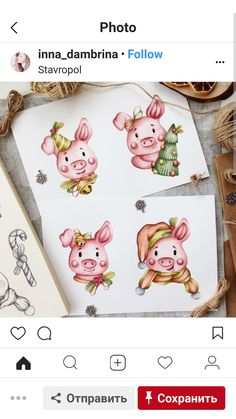 Свинки Pig Illustration, Character Illustration, New Year's Crafts, Diy And Crafts, Christmas Baby, Christmas Cards, Pig Art, Cute Piggies, Drawing For Kids