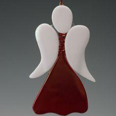 Red Angel ornamento azul vidrio fundido, iridiscente, navidad, regalo 4 x 2. $ 17.00, a través de Etsy .: