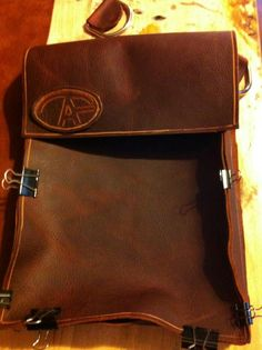 A work in progress by Tony Fantasia. Hand crafted leather satchel for me!! 12 Gauge Custom Leather