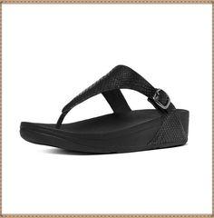 651fe95d5 FitFlop Black Snake-Embossed The Skinny Leather Toe-Thong Sandal - Women