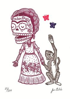 frida kahlo calavera - Seperate colours are like in monkey puzzle and dots show surrounging circle.