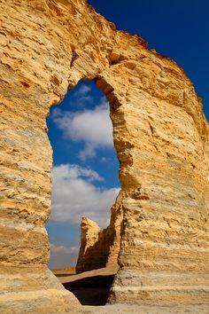 Eye of the Needle, Monument Rocks, near Oakley, Kansas; photo by Doug Hickok