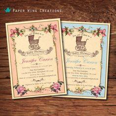 Elegant Baby shower invitation. Vintage French Baby Shower Invite. Pink rose. Shabby chic. Baby Boy shower, baby girl shower printable B50 on Etsy, $15.00