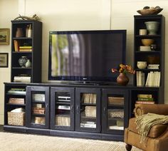 Printers Large Media Suite with Hutch | Pottery Barn I think I can create the media unit with file storage from these pieces....