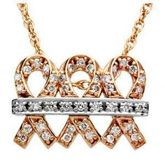 "Fashioned from high-polished 14K two-tone gold, this inspirational ""Me and my Two Friends""® breast cancer awareness necklace features three, rose gold breast cancer ribbons. Nine, sparkling full-cut diamonds, all prong-set in white gold, are displayed in a white gold band that spreads across the center of the three ribbons."