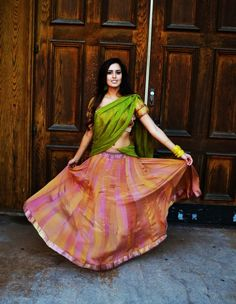 Cotton lehenga: a daily-wear from south India is quite a comfortable yet sexy attire. Get your colors on www.faaya.in