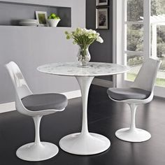 """Lippa Marble Top 36"""" Dining Table in White"""