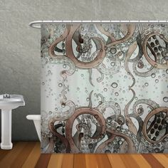 Items Similar To Octopus Tentacle Shower Curtain On Etsy