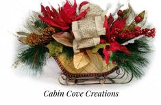 Items similar to Christmas Sleigh Floral Arrangement, Dining Centerpiece, Red White Gold STUNNING UNIQUE Custom Designs by Cecilia Cabin Cove Creations on Etsy Dining Centerpiece, Summer Centerpieces, Christmas Centerpieces, Handmade Christmas Decorations, Xmas Decorations, Holiday Decor, Gold Christmas, Christmas Wreaths, Floral Arrangements