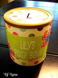 Piggy bank made from a baby formula can, love it! put on tables for a savings acct starter?