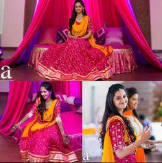 Bridal Mehndi Dresses, Mehendi Outfits, Bridal Lehenga, Saree Wedding, Wedding Wear, Half Saree Designs, Lehenga Designs, Half Saree Function, Simple Lehenga