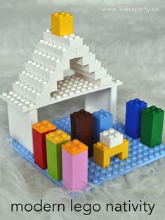 Modern lego nativity -easy to make from your children's lego, and a fun, modern holiday decoration