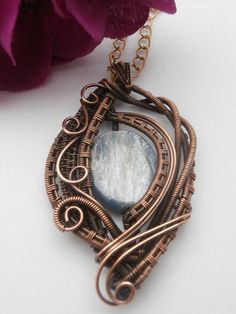 SOLD! Kyanite Copper Wire Weaved Pendant Necklace by PerfectlyTwisted
