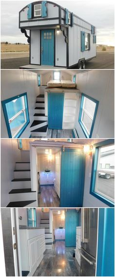 This 28′ tiny house features white board and batten siding with gingerbread trim and custom built window shutters with heart cut outs on all windows. The shutters are black on the outside and metallic blue on the inside. The front door is the same metallic blue. There is a 3′ porch that is covered by one of the lofts.  Inside are two lofts. The first is a 7′ loft above the porch and kitchen with custom built stairs with drawers and a ladder attached to the wall.