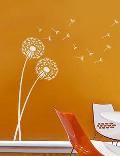 Dandelion Stencil size MED - Reusable wall stencils better than decals - Flower stencils for DIY decor by CuttingEdgeStencils on Etsy https://www.etsy.com/listing/81402332/dandelion-stencil-size-med-reusable-wall