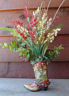Handmade Western Decor Floral Flower Arrangement Cowboy Boot   eBay