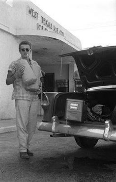 James Dean, Marfa Texas while filming the movie Giant.