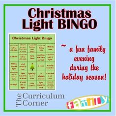 A fun, new family tradition!  Load up your car with the family, snacks and this BINGO board for a fun night of searching for Christmas lights.  I can't wait to start this with my family!