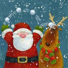 US Seller Jolly Christmas Santa Clause and Reindeer Holiday Diamond Painting Kit Full Drill. Fast S&H. by OurCraftAddictions Noel Christmas, Christmas And New Year, All Things Christmas, Winter Christmas, Vintage Christmas, Christmas Crafts, Christmas Ornaments, Holiday, Illustration Noel