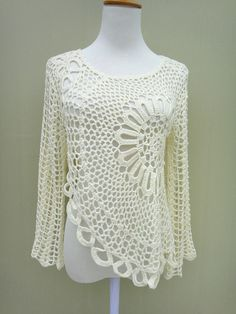 Hi Low Crochet Top Long Sleeve by TinaCrochet2016 on Etsy