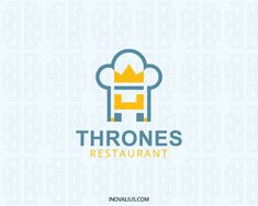 Thrones Restaurant is a logo in the shape of chef hat together with crown and throne with blue and yellow colors.( restaurant, food, crown, chef hat, table, kingdom, fast food, food service, events, app food, restaurant finder, diner, food guide, logo for sale, logo design, logo, lototipo, logotype).