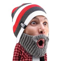 519776fd Beard Head - funny knit beard hat beanie Beard Beanie, Grey Beanie,  Snowboarding,