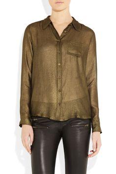 Equipment|Brett metallic silk-chiffon shirt|NET-A-PORTER.COM