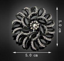 смола черного цвета большой смолы кристалл со стразами свадьбы вечеринки женщин леди брошь заколка