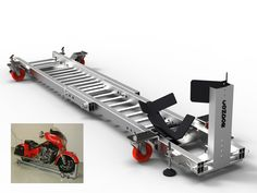 Our Garage Dolly makes moving any motorcycle around your garage simple, safe, and easy. Works in a trailer, too !