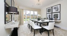 This is the beautifully designed dining room with a white theme at Shenley Grange, Hertfordshire Kings Home, Dining Room, Dining Table, Homes, Gallery, Furniture, Design, Home Decor, Dinner Room