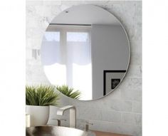 Najwyższej jakości SUPER BIAŁE okrągłe lustro łazienkowe.Krawędzie szlifowanei