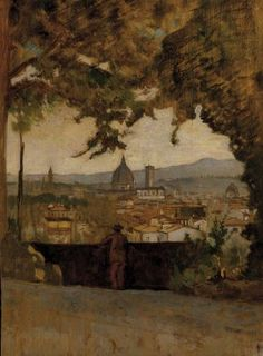 """""""View of Florence from Montughi"""" (not dated) by Italian painter Odoardo Borrani. Oil on canvas. Private Collection."""