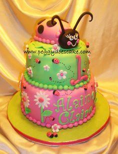 Pink And Green Ladybug Cake — Childrens Birthday Cakes