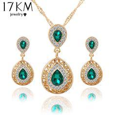 Women bridal Wedding Jewelry Sets Charm Crystal Water Drop Pendant Necklaces Earrings Sets Shininy Zircon bijoux femme 2015