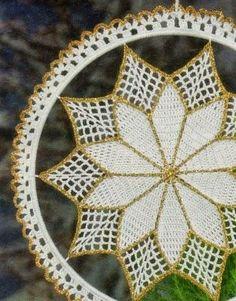 Speciale Natale: lavori con l'uncinetto Filet Crochet Charts, Crochet Doily Patterns, Lace Patterns, Crochet Doilies, Crochet Christmas Decorations, Homemade Christmas Decorations, Christmas Wreaths, Christmas Crafts, Crochet Projects