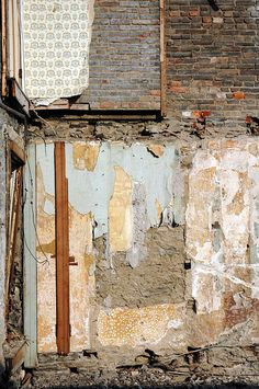 Peeling Wall Detail of the Garrett-Dunn House in Philadelphia at the start of its reconstruction.