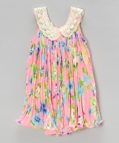 Loving this Neon Floral Pleated Swing Dress - Infant, Toddler & Girls on #zulily! #zulilyfinds