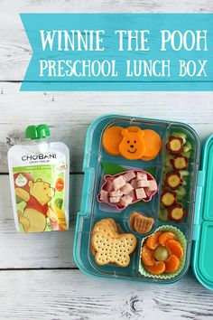 Make your preschooler a sweet Winnie the Pooh lunch that's packed with wholesome fruits and veggies – a Chobani Tots Mango and Spinach pouch, thin-sliced celery, lightly steamed purple carrots, and mandarin orange wedges. Round out the lunch with fun finger foods like cheese circles, ham cubes and crackers.  Sponsored by Chobani.